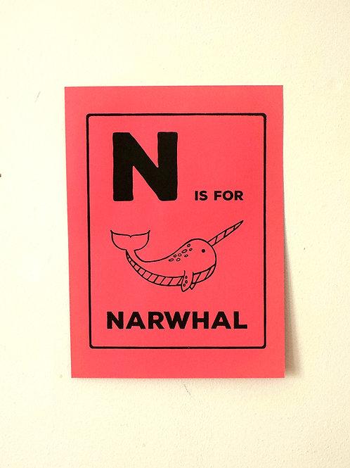 N is for Narwhal  Screenprint