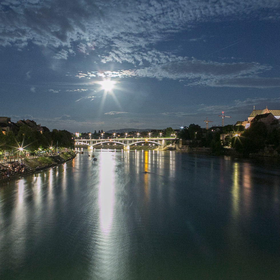 Basel River at Night