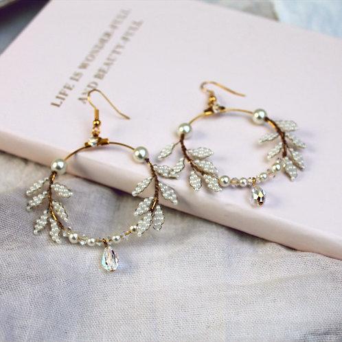 Botanical Hand-beaded Hoop Earrings