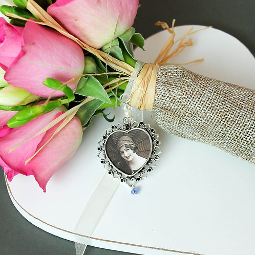 Photo Memory Heart Bouquet Charm