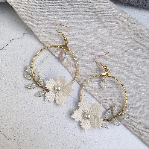 Handbeaded Floral Hoop Earrings