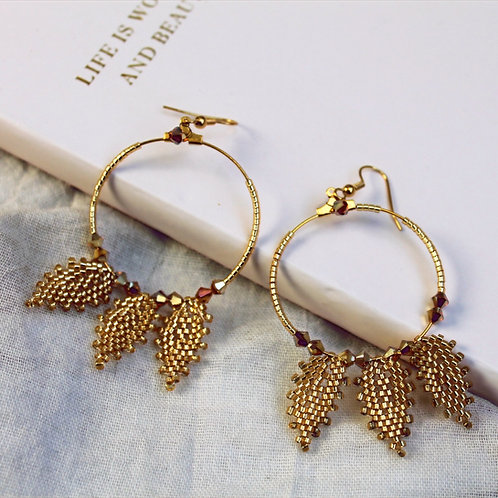 Handbeaded Boho Hoop Statement Earrings