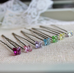 Rainbow Crystal Butterfly Hairpins