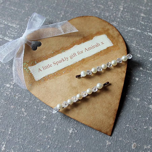 Crystal Hairslides With Personalised Gift Tag