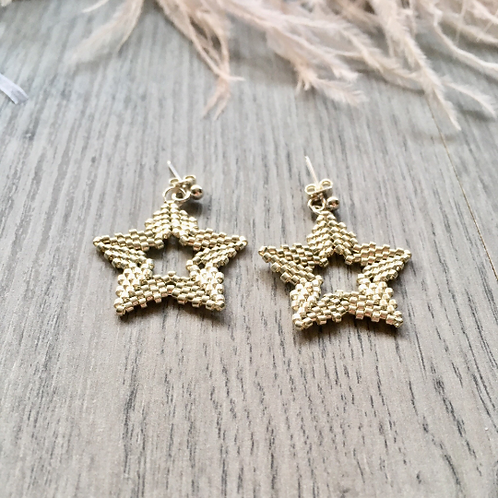 Beaded Star Stud Earrings