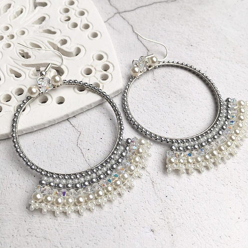 Handbeaded Statement Hoop Earrings ~ Tallulah