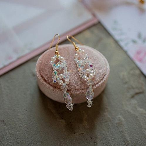Handbeaded Crystal Drop Earrings ~ Clara