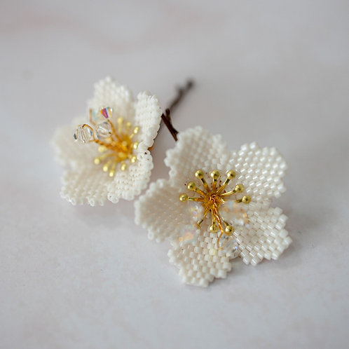 Beaded Blossom Bridal Floral Hairpins ~ Cherry