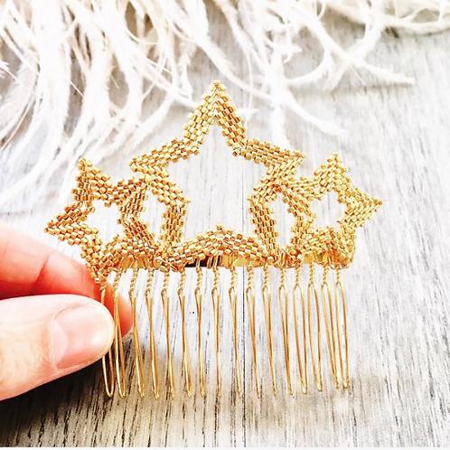 Handbeaded Star Haircomb