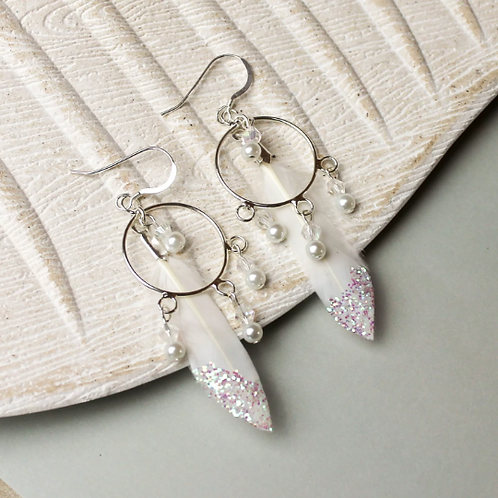 Feather Dream Catcher Style Sterling Silver Earrings
