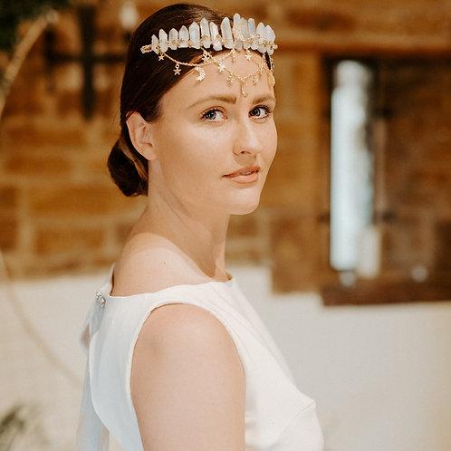 Boho Celestial Quartz Bridal Crown