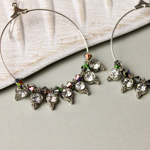 Bohemian Crystal Silver Hoop Earrings