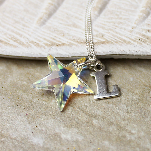 Crystal and Silver Star Necklace