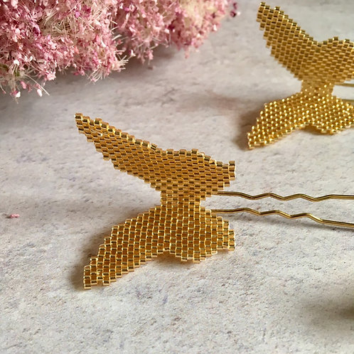 Hand-Beaded Butterfly Hairpins