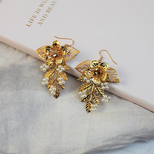 Gold Floral Metallic Statement Earrings