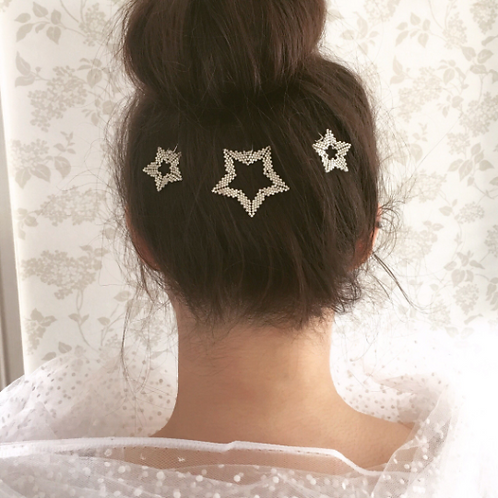 Etoile Star Hand Beaded Hairpins set of 3