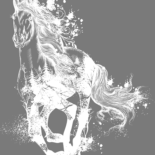 """Majestic Horse (White) 23"""" x 25"""" (Will Be Retired)"""