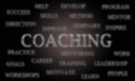 Coaching word cloud written in luxurious