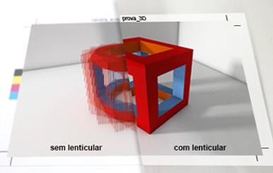 Visualização de impressão lenticular.