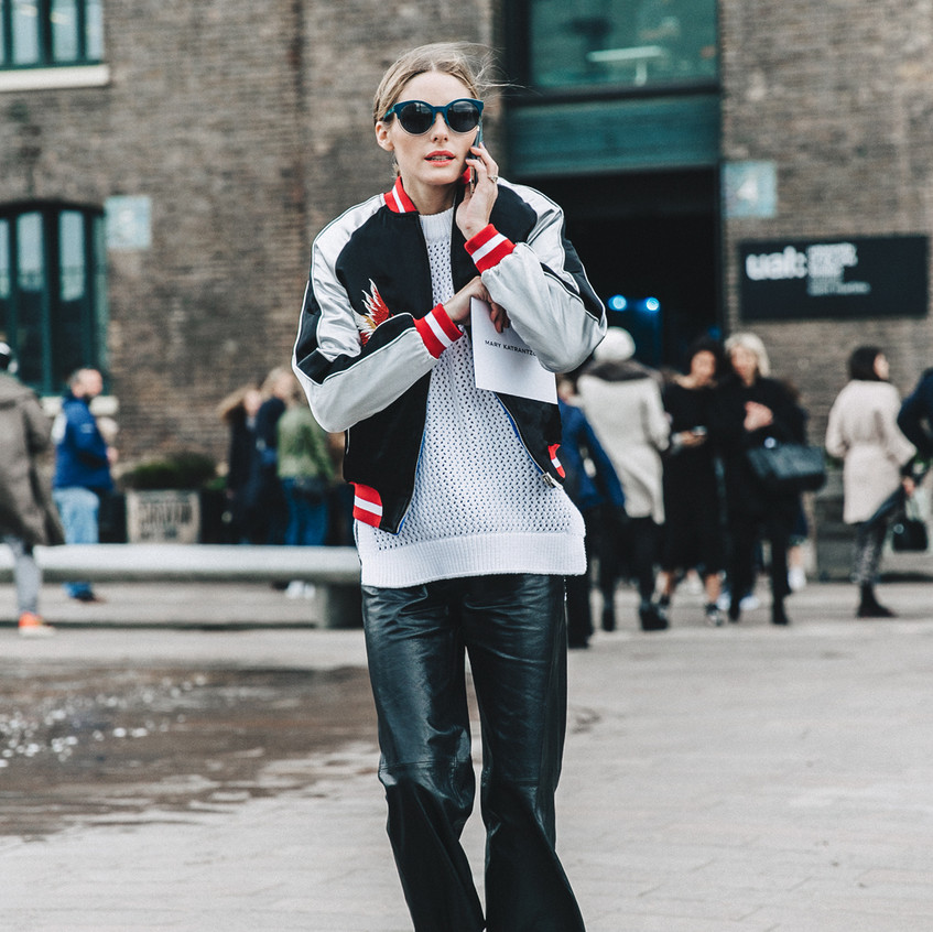 LFW-London_Fashion_Week_Fall_16-Street_Style-Collage_Vintage-Olivia_Palermo-Bomber_Jacket-Leather_Trousers-Red_Shoes-4