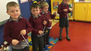 Making music in Junior Infants