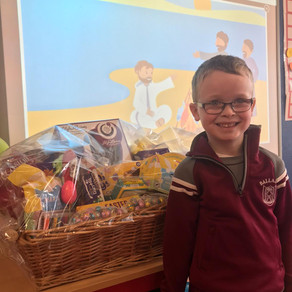 Easter Hamper Winner- a very happy boy.