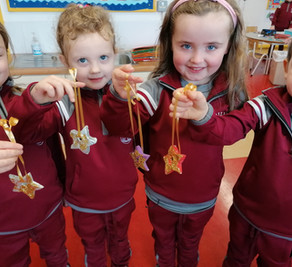 JUNIOR INFANTS CHRISTMAS Art. We used clay to make Christmas tree decorations
