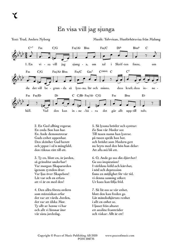 En visa vill jag sjunga mel - Full Score