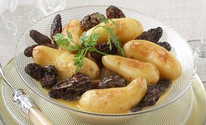 Poêlée de Pommes de terre aux morilles du sidobre et à la crème de morbier