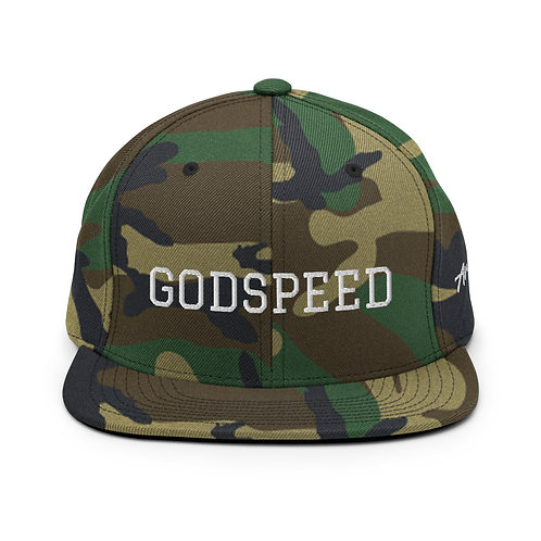 Camo with White Lettering   GODSPEED Snapback Hat