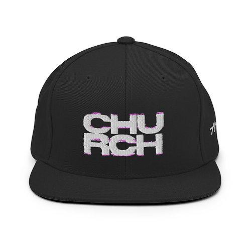 Church   White on Black Snapback Lid