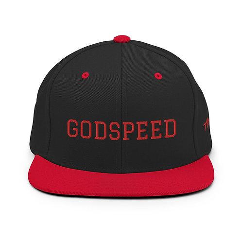 Red | Black Split with Red Lettering | GODSPEED Snapback Hat