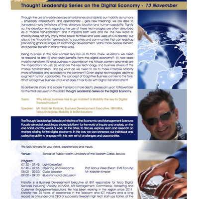 Thought Leadership Series on the Digital Economy (Nov '15): Why African business has to go mobil