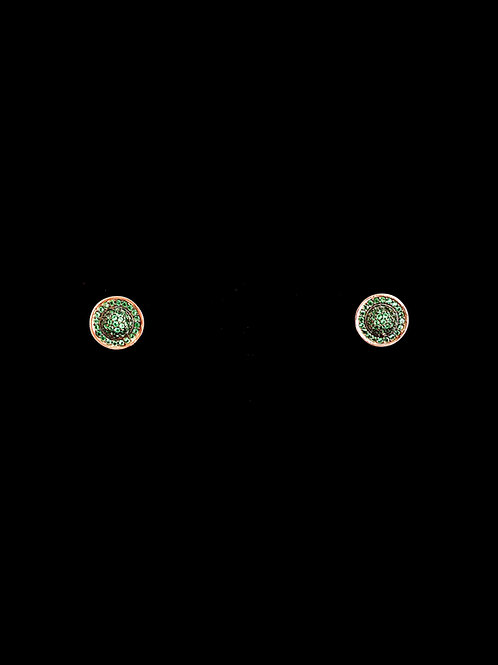 Emerald CZ Rose Gold Stud Earrings