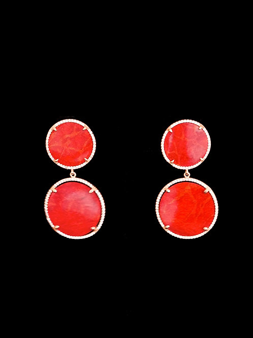 Red Coral Rose Gold CZ Drop Earrings