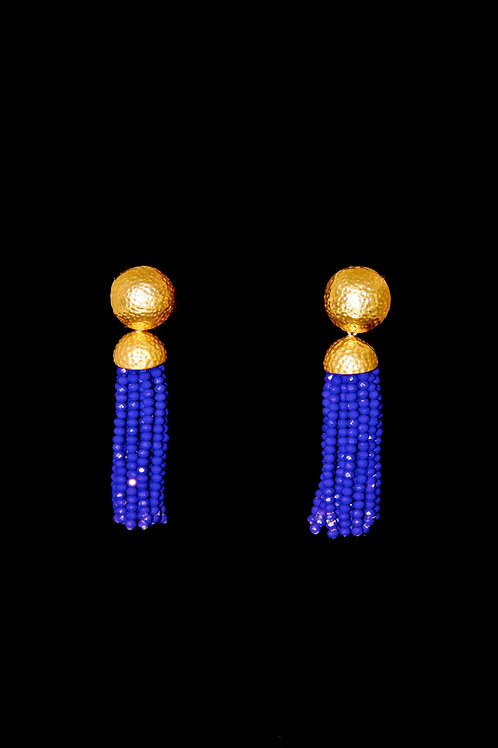 Royal Blue Gold Hammered Tassel Earrings