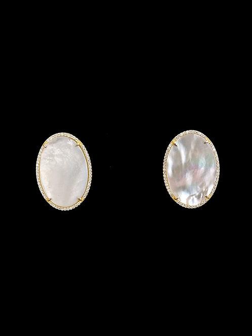 MOP Oval Gold CZ Stud Earrings