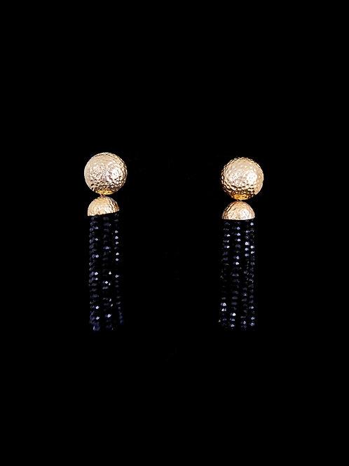 Black Gold Hammered Tassel Earrings