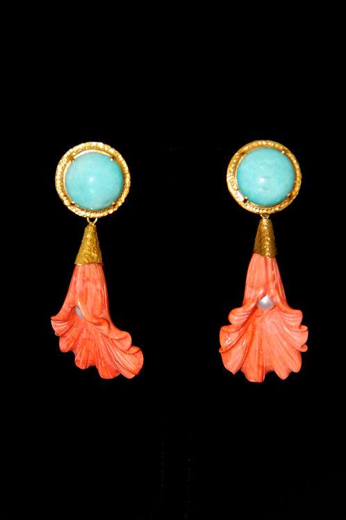 Amazonite Orange Shell Earrings