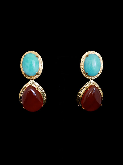 Amazonite Red Agate Earrings