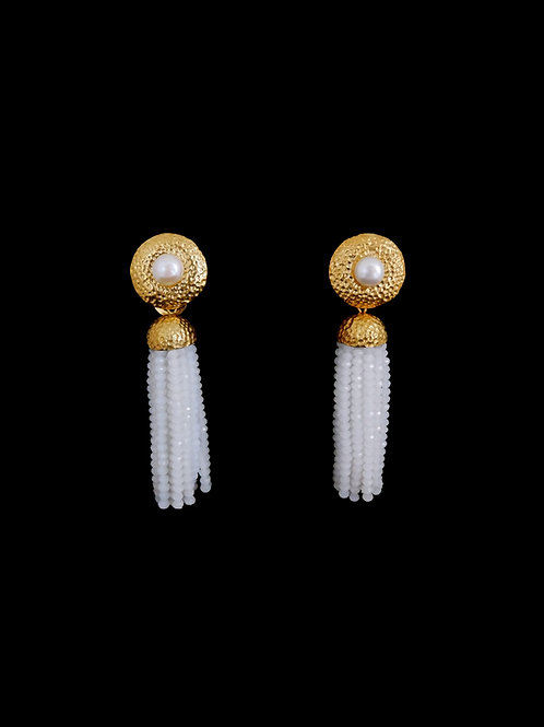 FP White Gold Hammered Tassel Earrings