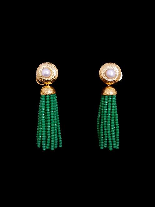 FP Emerald Green Tassel Earrings