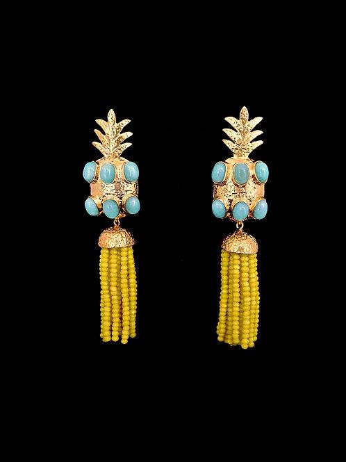 Amazonite Citron Gold Hammered Pineapple Tassel Earrings