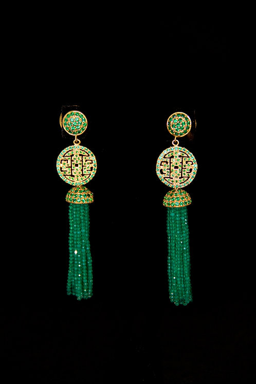 Green Onyx Chinoiserie Tassel Earrings