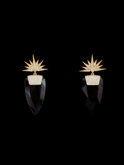 Stardust Gold Black Earrings