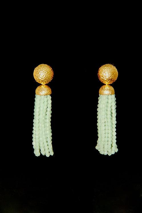 Sea Green Quartz Gold Hammered Tassel Earrings