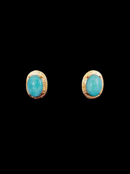 Amazonite Gold Hammered Stud Earrings