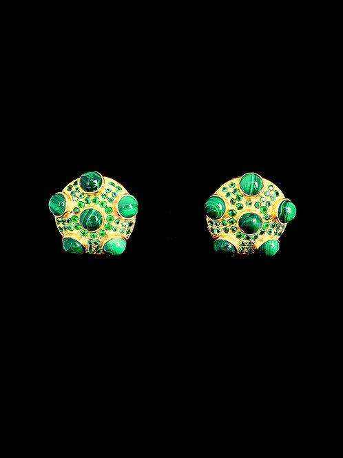 Malachite CZ Round Stud Earrings