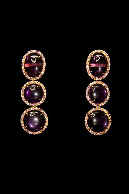 Amethyst 3 Stone Earrings