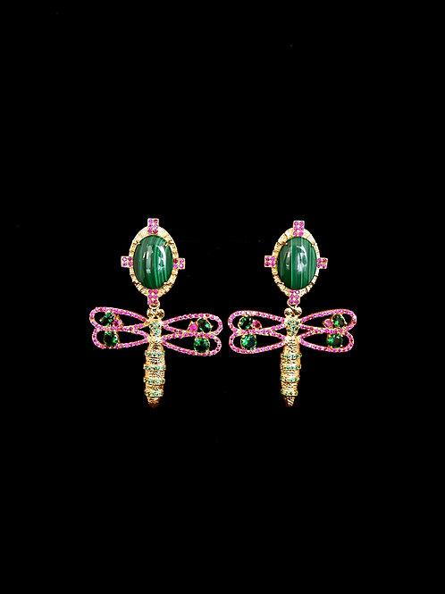 Malachite Ruby Dragonfly Earrings
